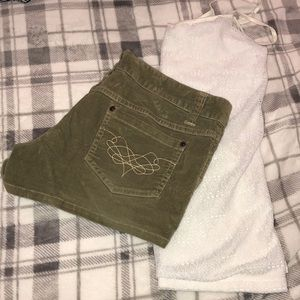 Pants - Corduroy green shorts and white lace tank outfit